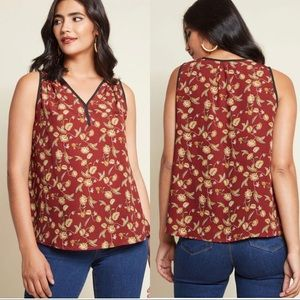 ModCloth Brown Floral Tank Top With Black Trim